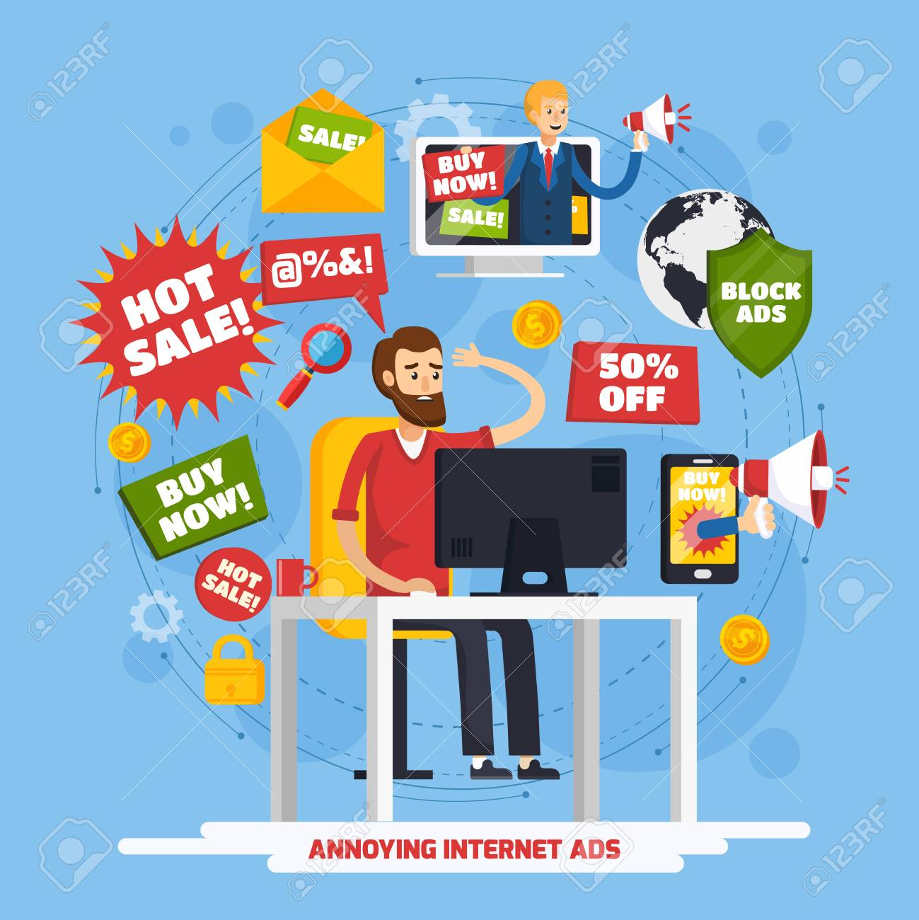 Colored annoying intrusive advertisement orthogonal composition with annoying internet ads and angry user vector illustration - 84584227