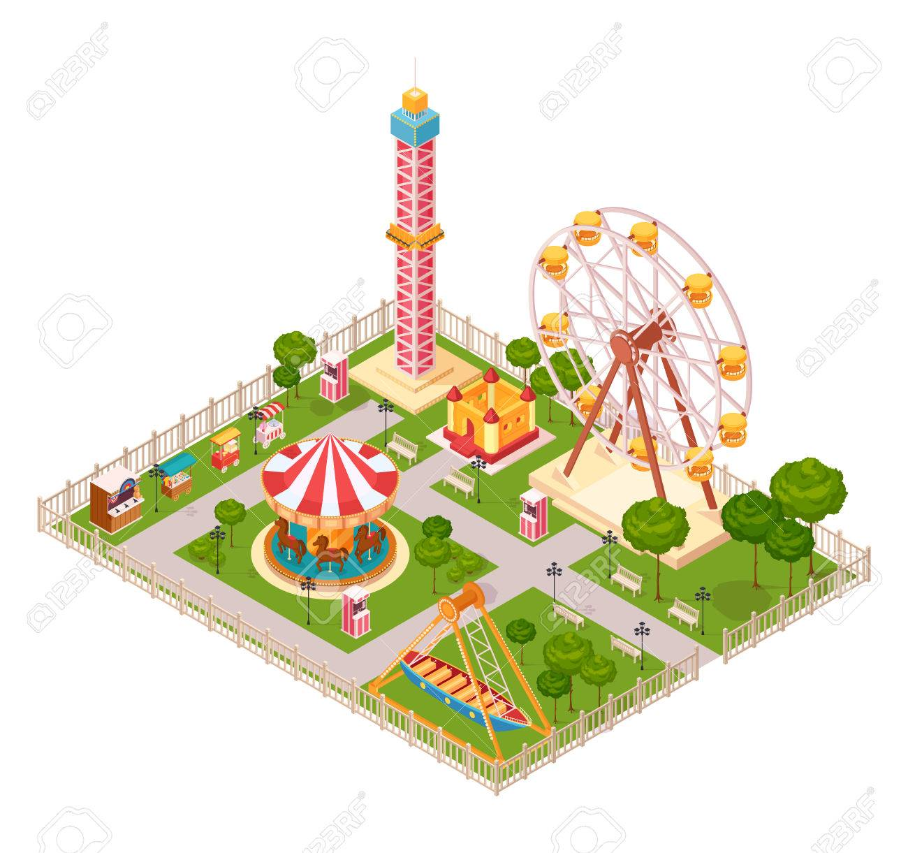 Amusement park design concept with seesaw ferris wheel carousel amusement park design concept with seesaw ferris wheel carousel and extreme family attraction isometric elements cartoon biocorpaavc
