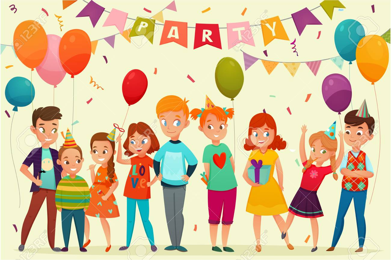 Colored Cartoon Kids Party Composition With Birthday Party Team