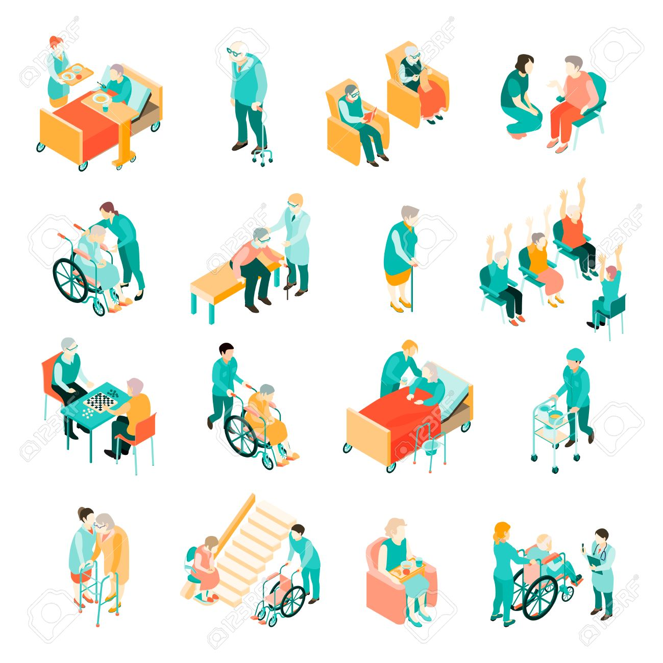 Isometric set of elderly people in different situations and medical staff in nursing home isolated vector illustration - 85549359