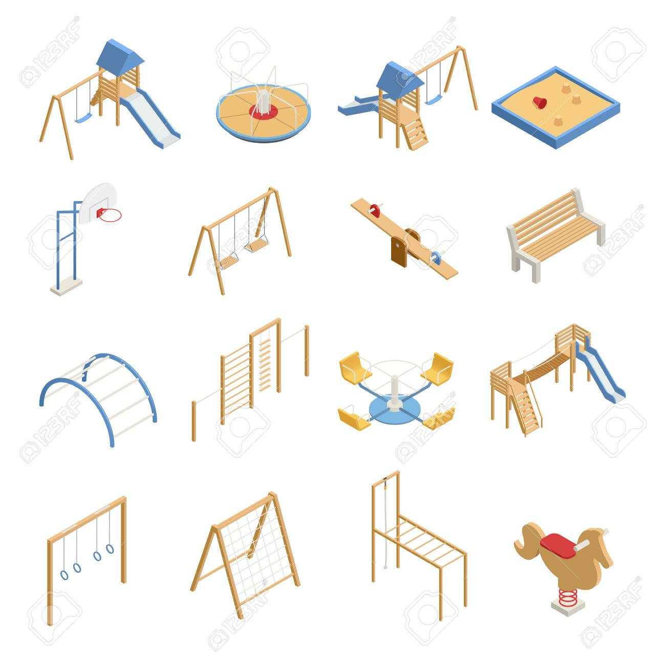 Children Playground Set Of Isometric Icons With Swings, Slides ...