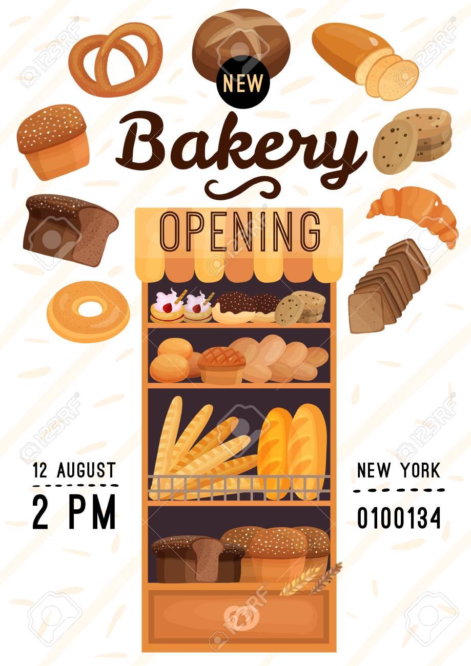 Cartel De Apertura De Panadería Con Productos De Harina, Incluido ...