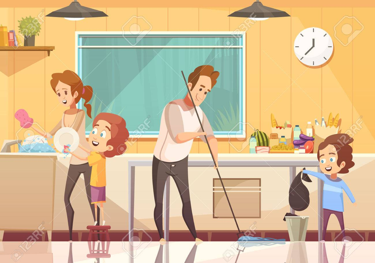Kids helping parents cleaning kitchen retro cartoon poster with floor sweeping and washing dishes abstract vector illustration - 85870214
