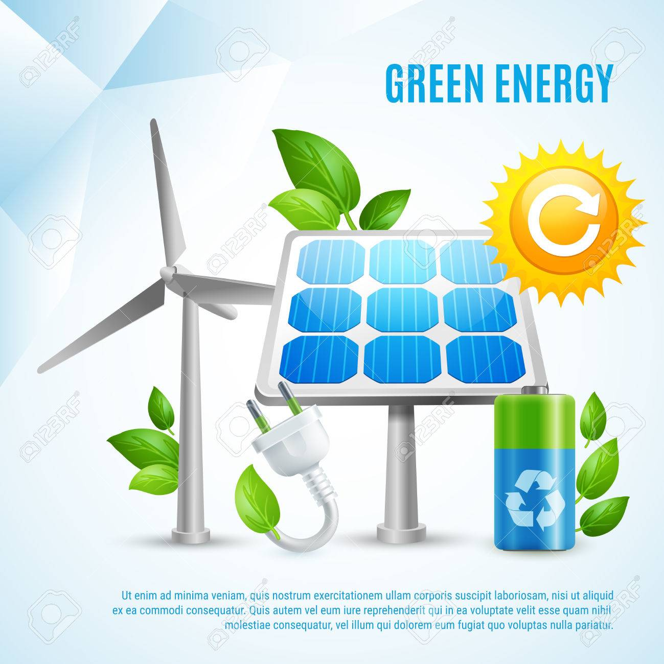 Green energy design concept with wind turbines solar panels green