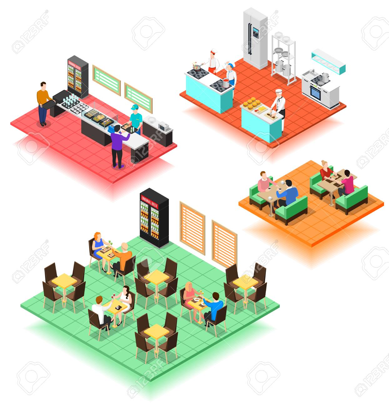 Set Of Isolated Isometric Interior Compositions Of Fast Food
