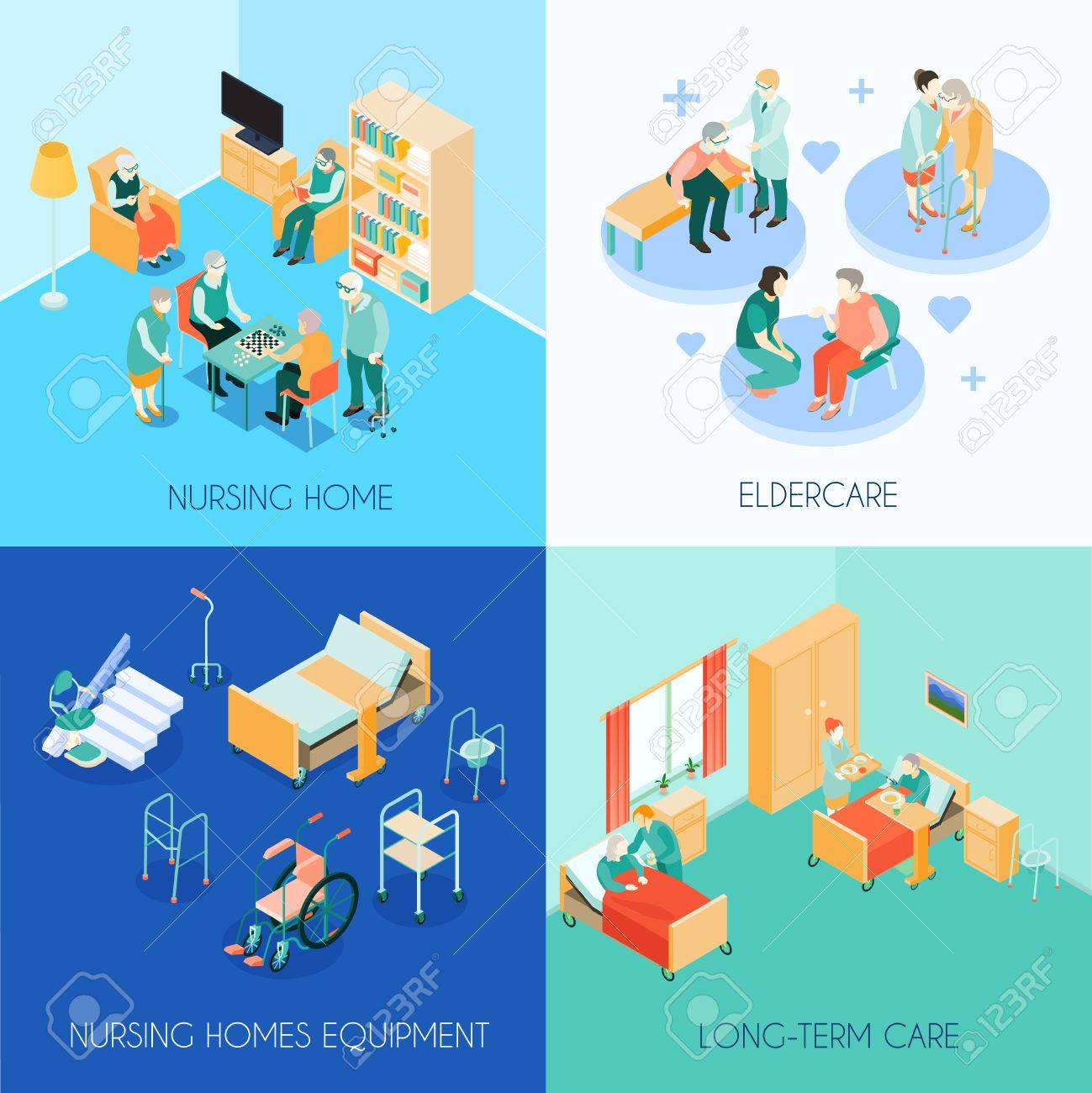 Nursing home eldercare concept 4 isometric icons square with long-term care unit activities isolated vector illustration - 86092989