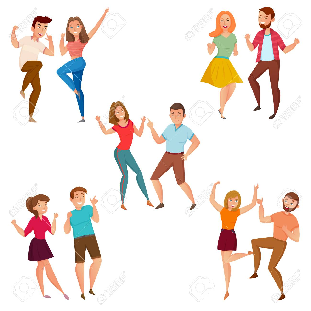 dancing people 5 young couples party and street style moves cartoon rh 123rf com Drawings of Cartoon People Dancing Animated Cartoon People Dancing