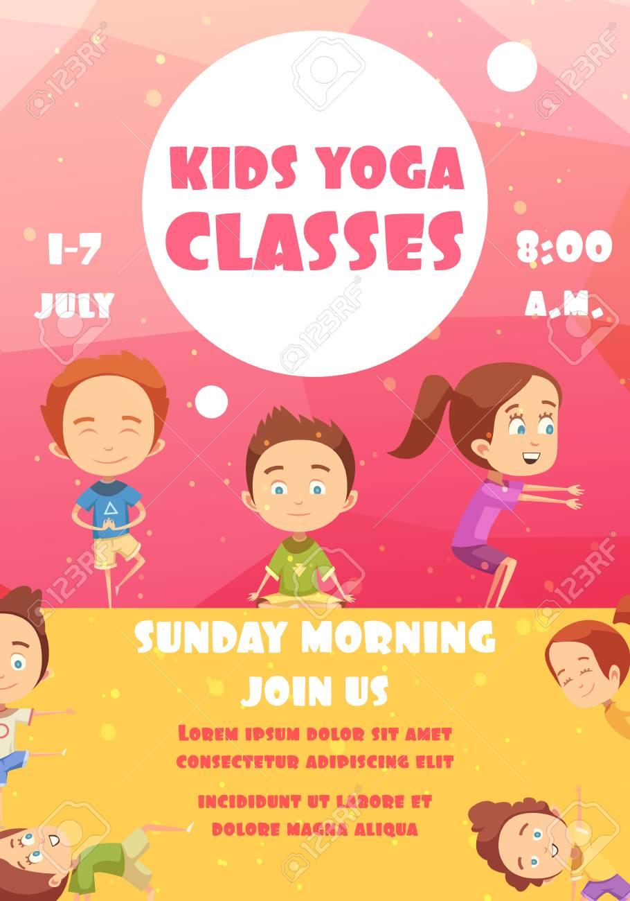 6b5d1b60681 Cartel de clases de yoga para niños con publicidad de los programas de  capacitación ilustración de