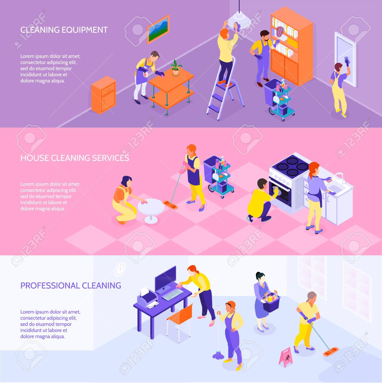 Professional cleaning company equipment services and rates 3 horizontal infographic elements isometric banners set isolated vector illustration - 86093029