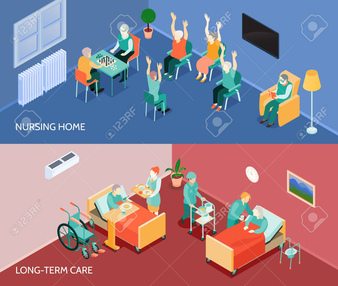 Nursing home long-term care unit 2 horizontal banners with daily activities and feeding assistance isolated vector illustration - 86203462