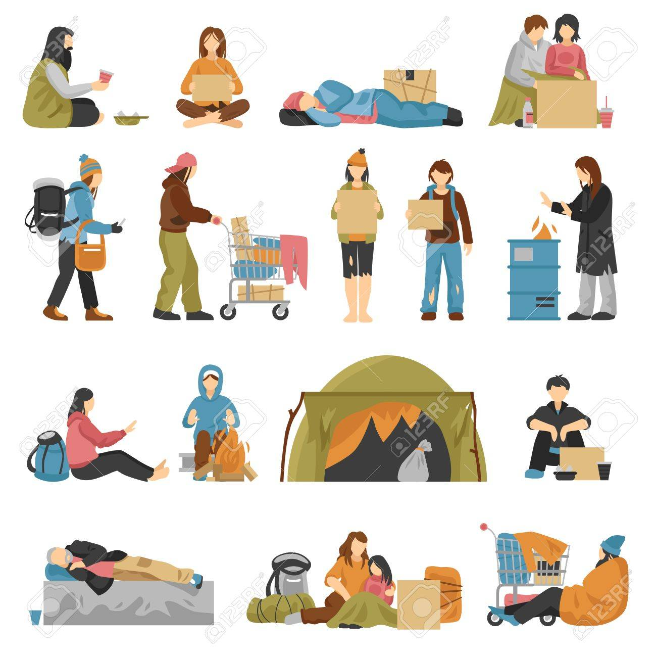 Homeless male and female people with kids begging money set isolated on white background flat vector illustration - 86203464
