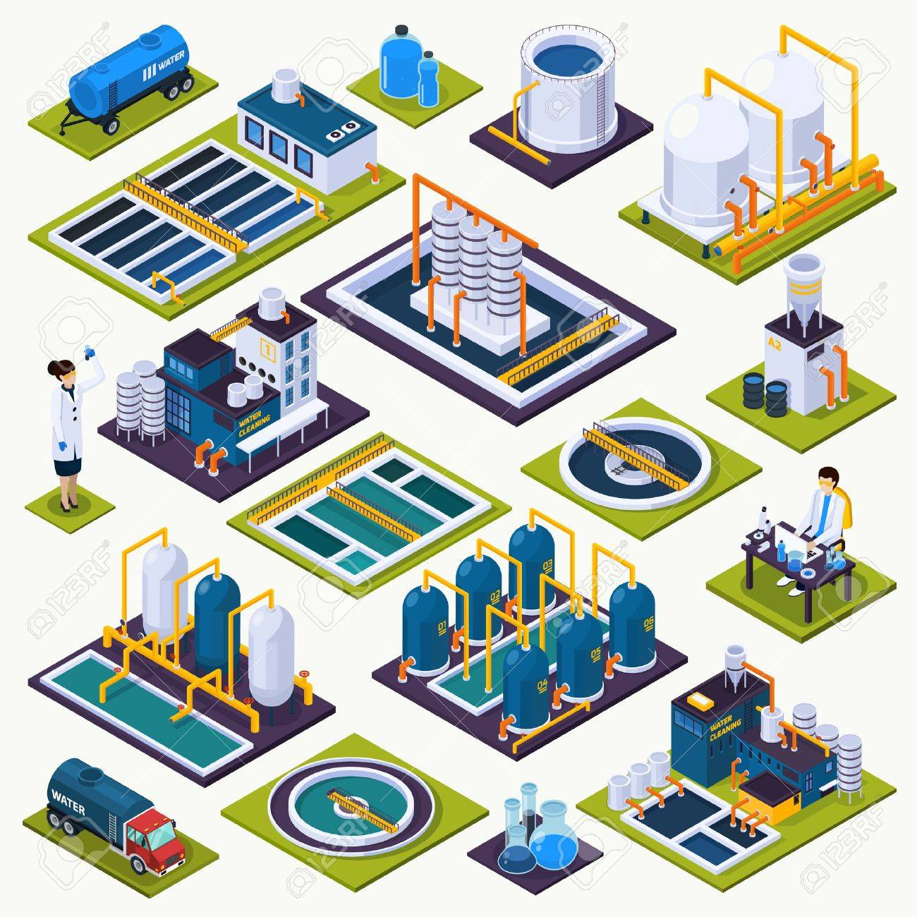 Water cleaning set of isometric icons with facilities of purification plant, laboratory test, transportation isolated vector illustration - 86223002