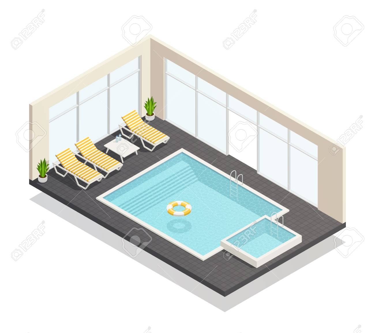 Recreation Indoor Swimming Pool And Fun Bath With Poolside Lounge ...