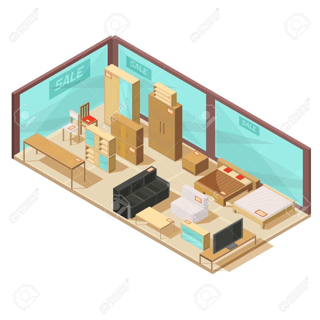 Zusammensetzung Mit Isometrischem Möbelgeschäft Mit Glaswänden Und