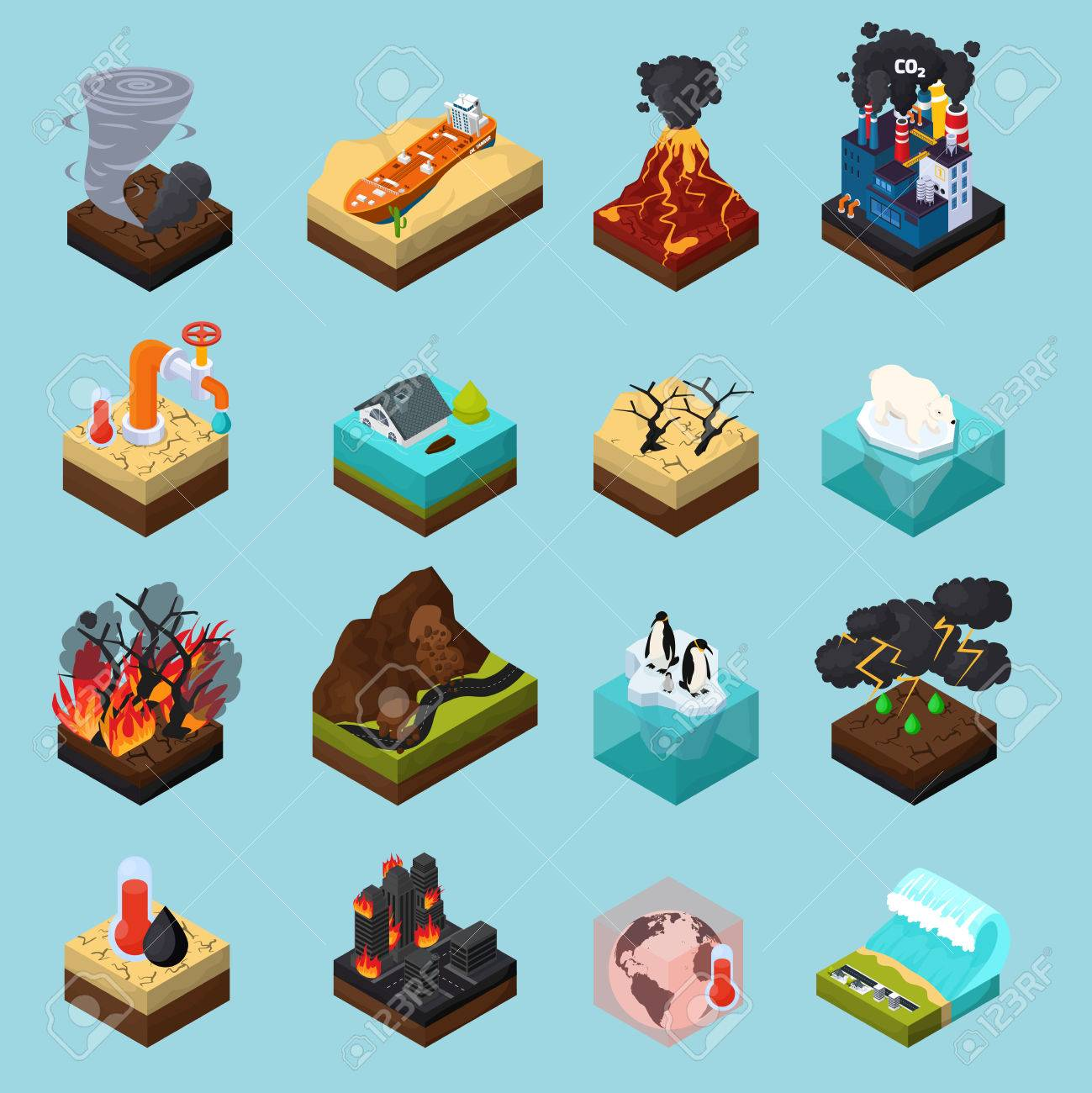 Global warming set of orthogonal isometric icons with climate changes on blue background isolated vector illustration - 86223113