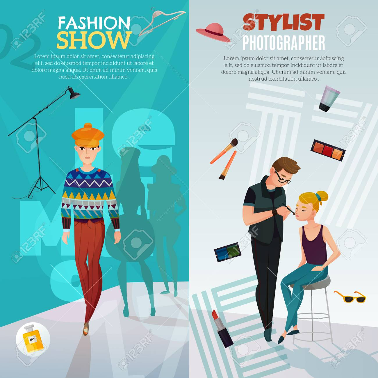 fashion show vertical banners royalty free cliparts vectors and rh 123rf com Hair Stylist Clip Art Hair Stylist Graphics