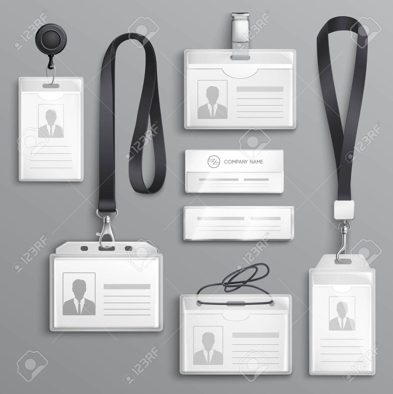 Employees identification card id badges holders with lanyards cord and strap clips black realistic samples set vector illustration - 86999493