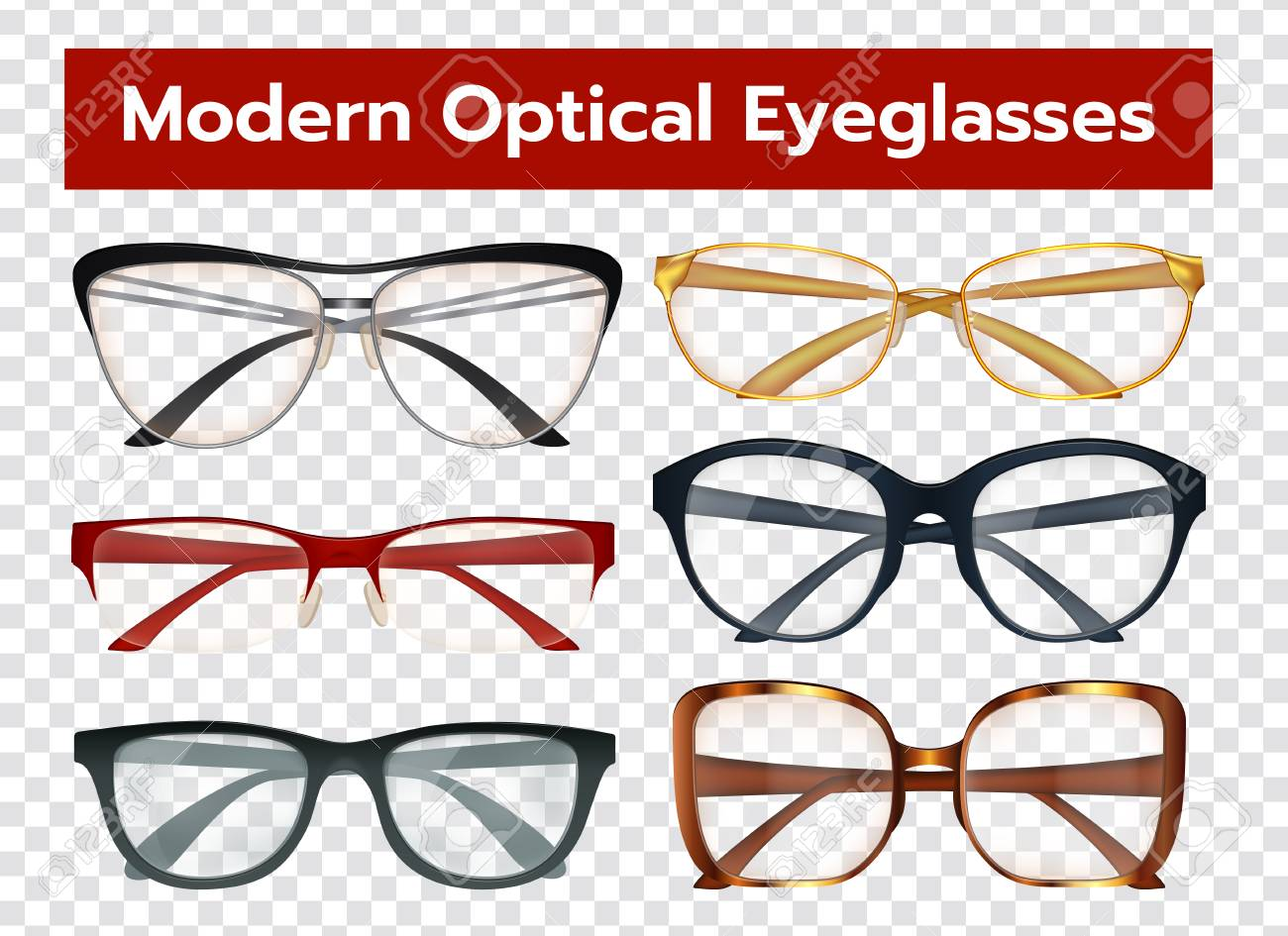 Classic Modern Optical Eyeglasses With Colorful Frames For Men