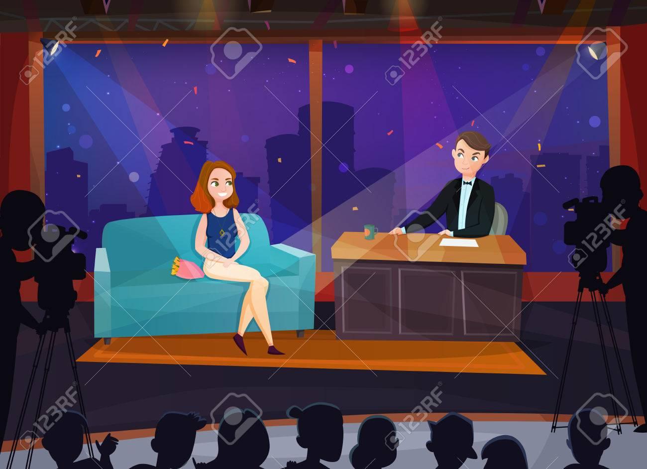 Smiling female participant in live talk show cartoon vector illustration - 86999553