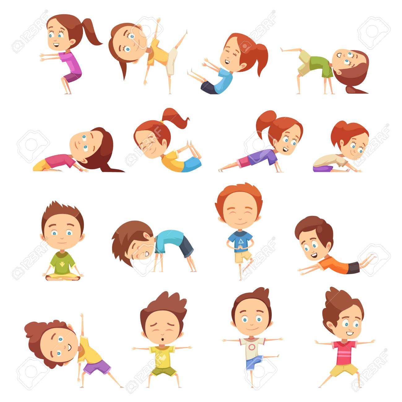 Kids Yoga Decorative Icons Set With Cute Cartoon Children In Royalty Free Cliparts Vectors And Stock Illustration Image 87287387