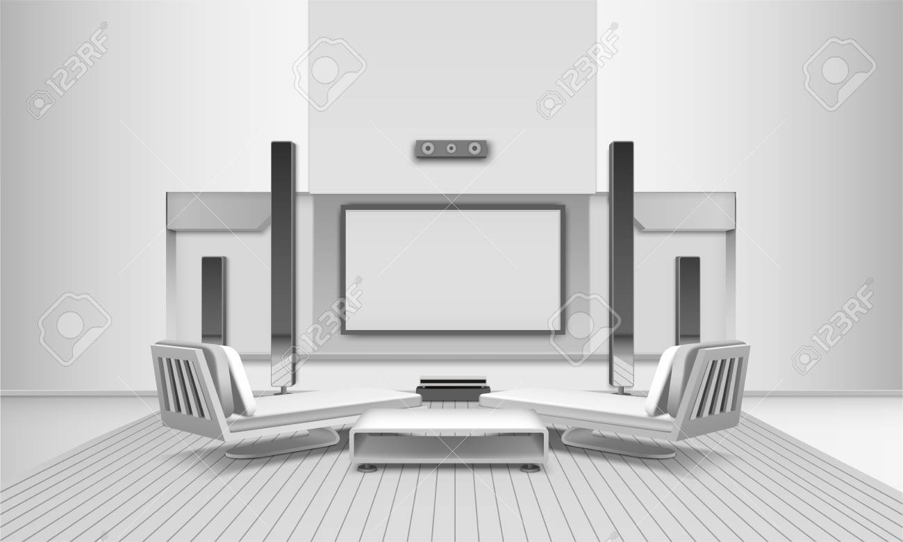 Modern Home Cinema Interior In White Tones With Display And ...
