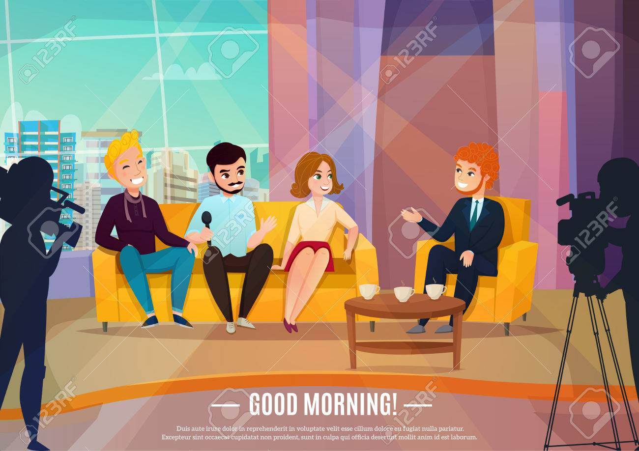 Talk show flat poster with three participants sitting on a couch and male reporter vector illustration - 87287423