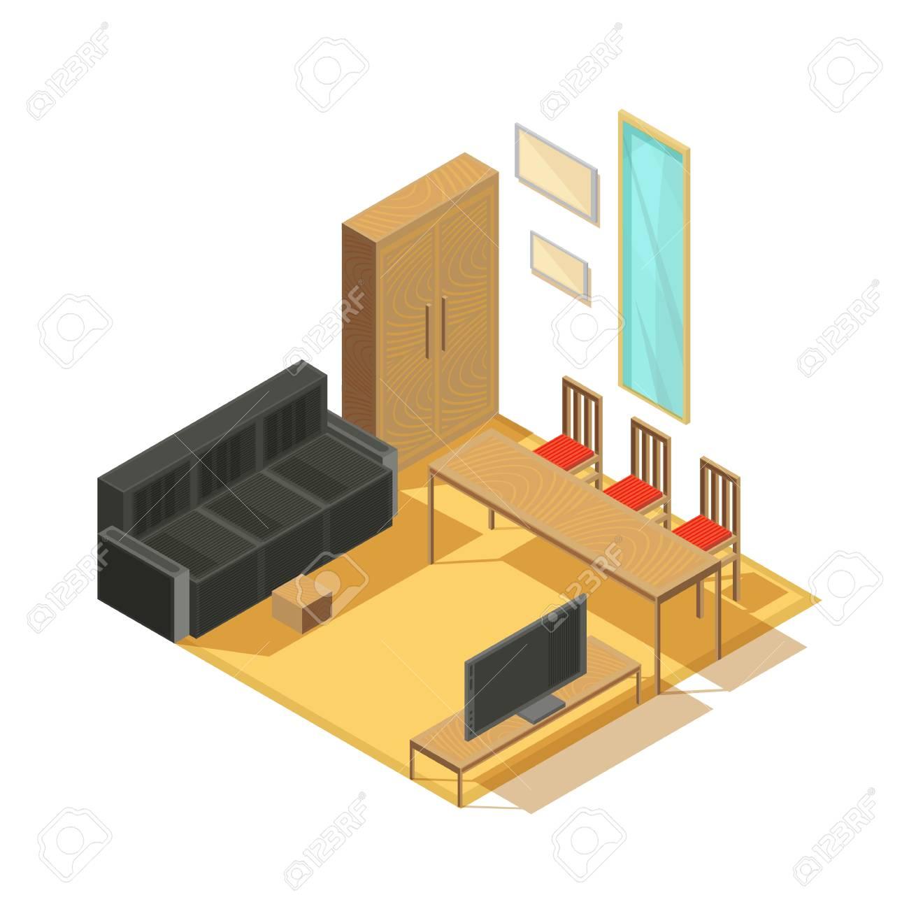Meubles Isometrique Ensemble D Articles De Chambre Meubles Armoire Canape Tv Set Miroir Et Chaises Avec Illustration Vectorielle De Table