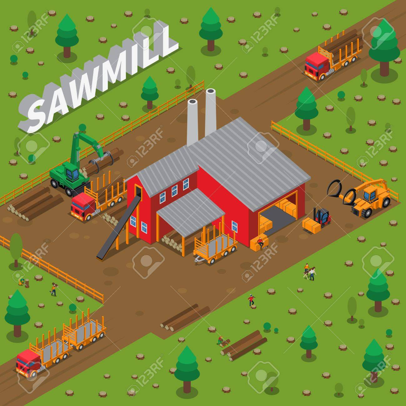 Colored sawmill timber mill lumberjack isometric composition