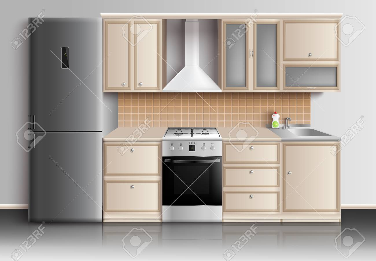 Kitchen Furniture Realistic Interior Composition With Closed Royalty Free Cliparts Vectors And Stock Illustration Image 87747211
