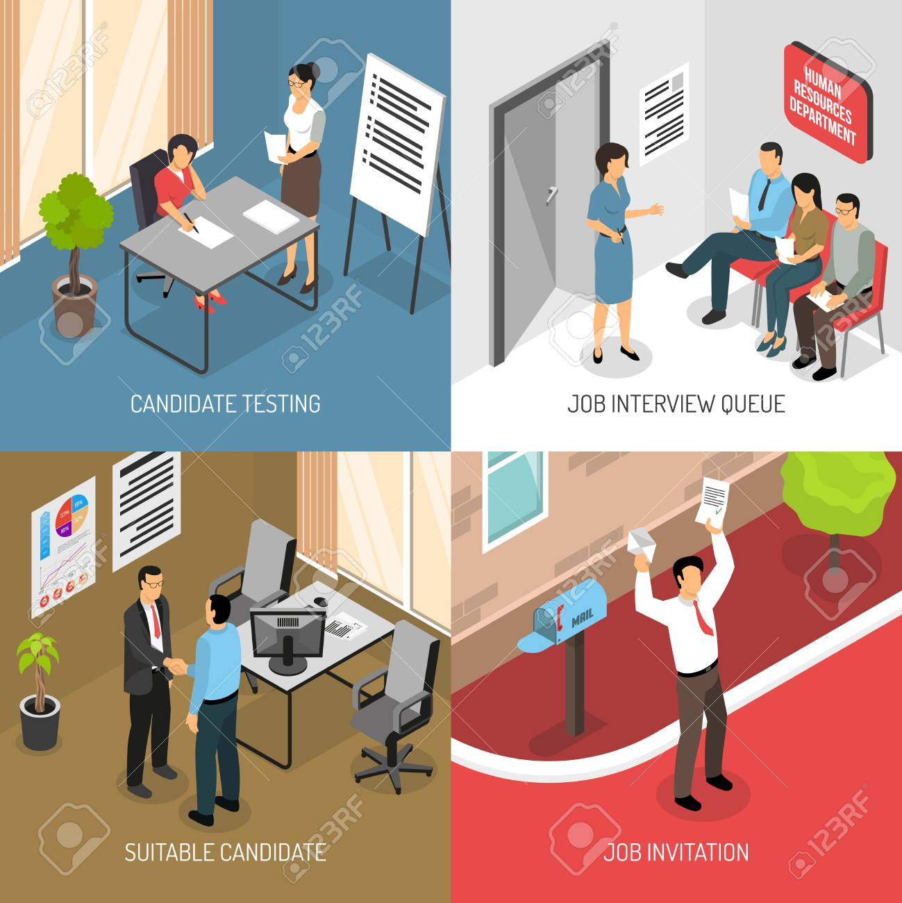 Job interview design concept with images of receiving invitation job interview design concept with images of receiving invitation letter and indoor office placement testing stopboris Image collections