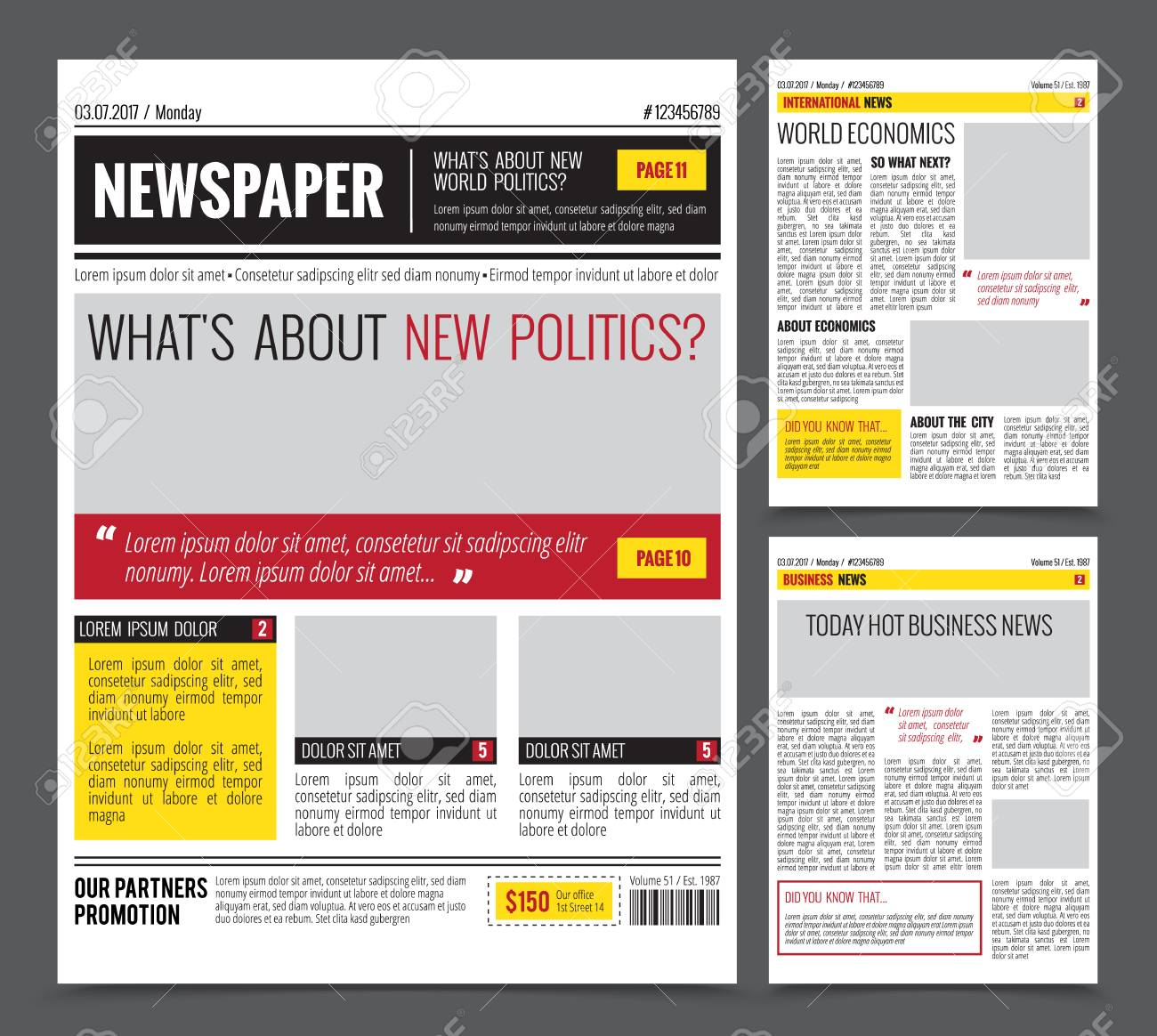 Daily newspaper colored template for website design with three page layout headlines quotes and text articles, flat vector illustration - 88338519