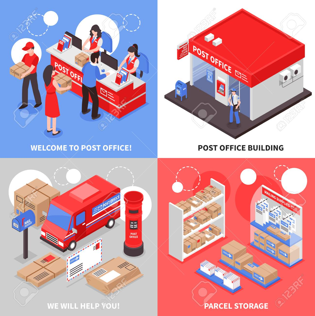 post 2x2 isometric design concept post office building parcel