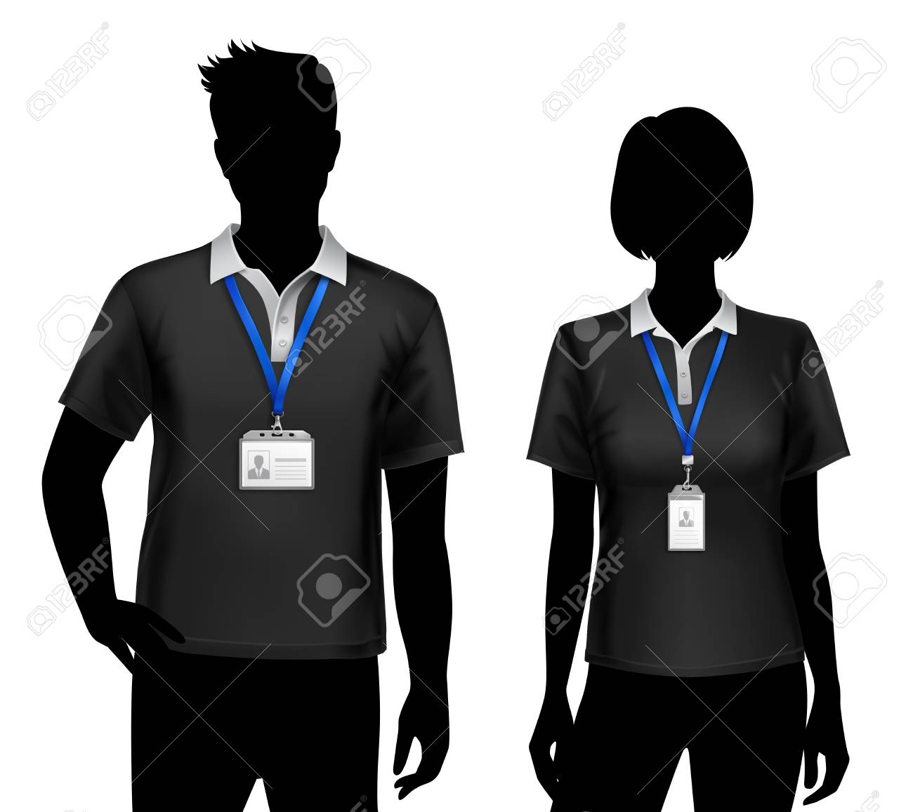 Black silhouettes of staff members man woman standing with blue lanyard id card badges holders vector illustration - 88130471