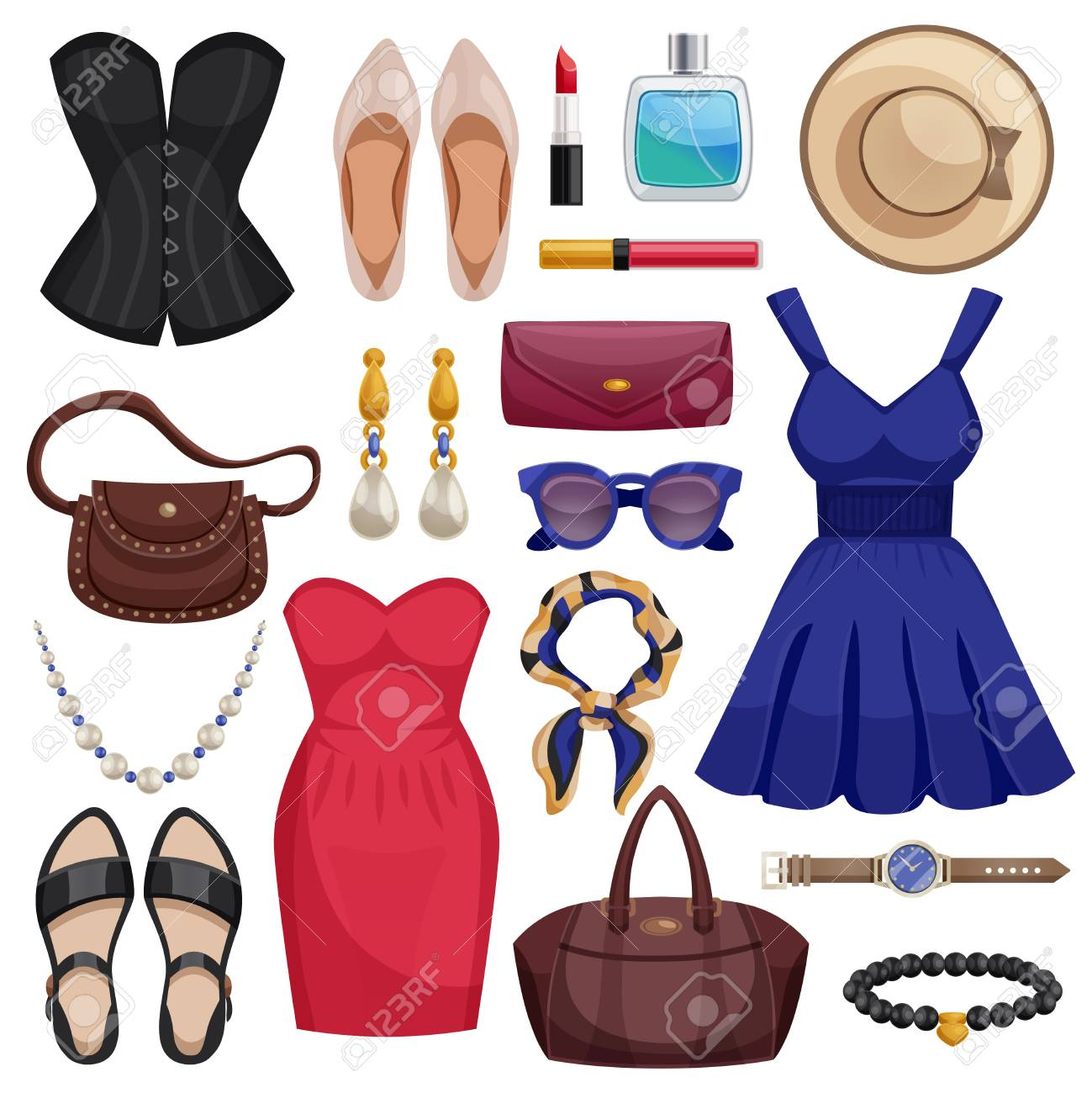 half price new lifestyle best price Colored and isolated women accessories icon set with clothes..