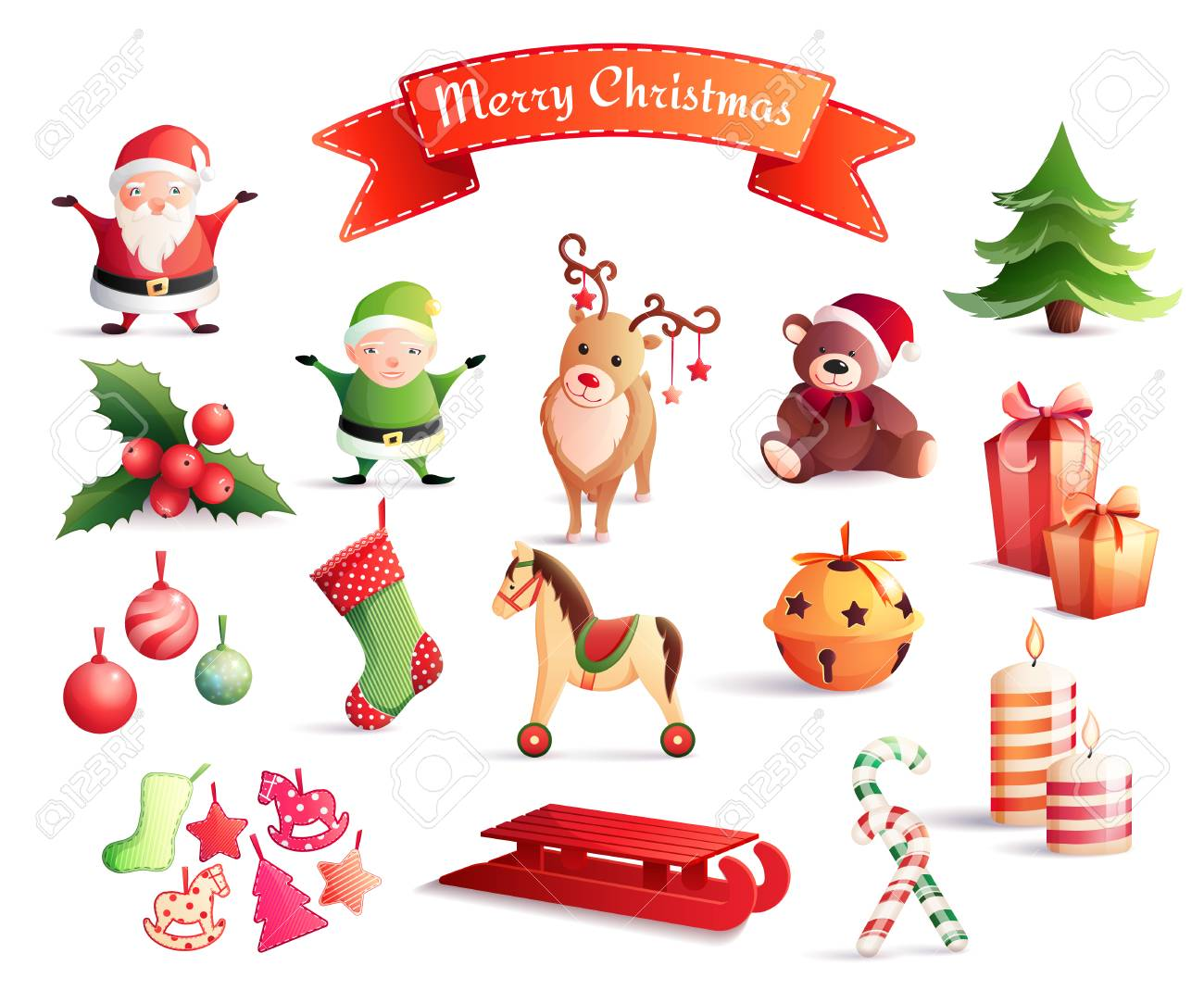 Lovely Christmas Decorations Cartoon Pictures Part - 14: Set Of Cartoon Icons With Christmas Decorations Including Santa, Year Tree,  Gifts, Animals