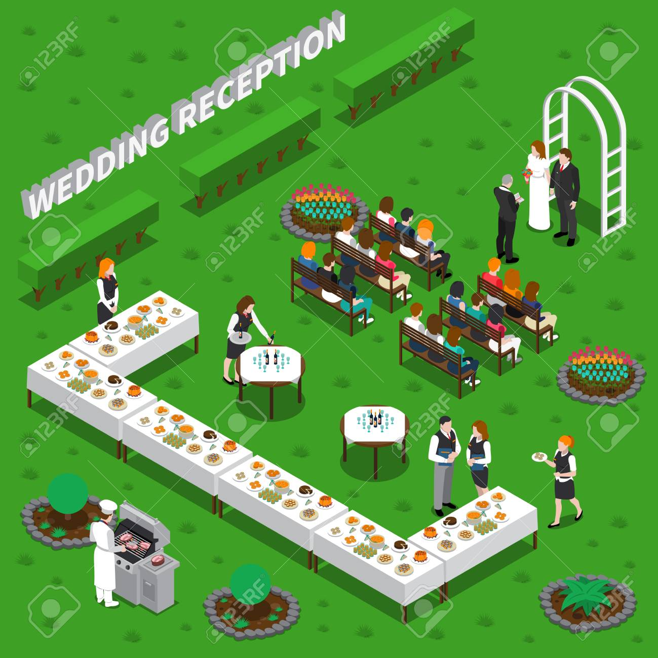 Wedding reception catering services isometric composition with ceremony, chef, waiters, table setting on green background vector illustration - 88167096