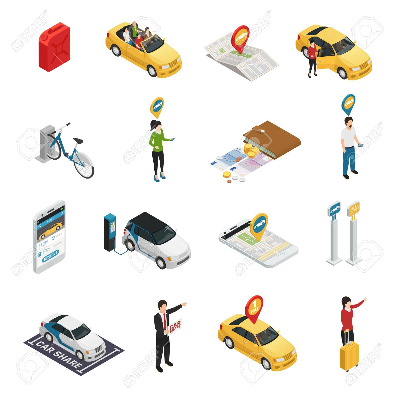 Carsharing carpooling ridesharing isometric icons with people using individual and collective reservation of cars via web application isolated vector illustration - 88167101