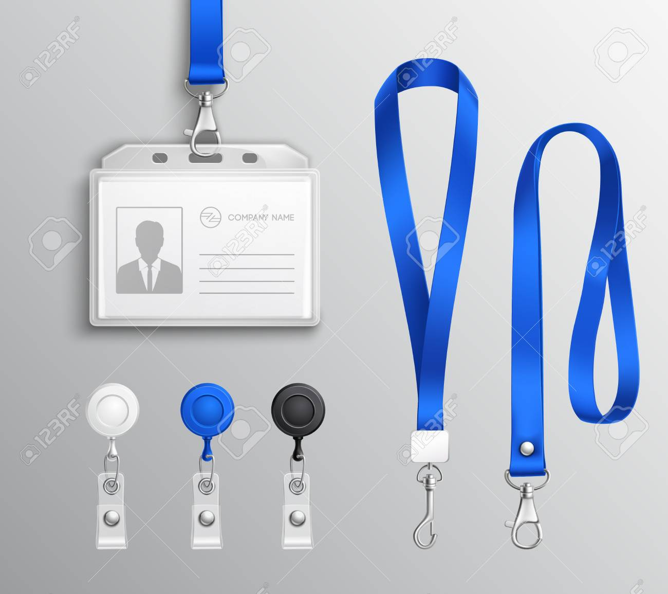 employees id card and badges holders with blue lanyards and strap