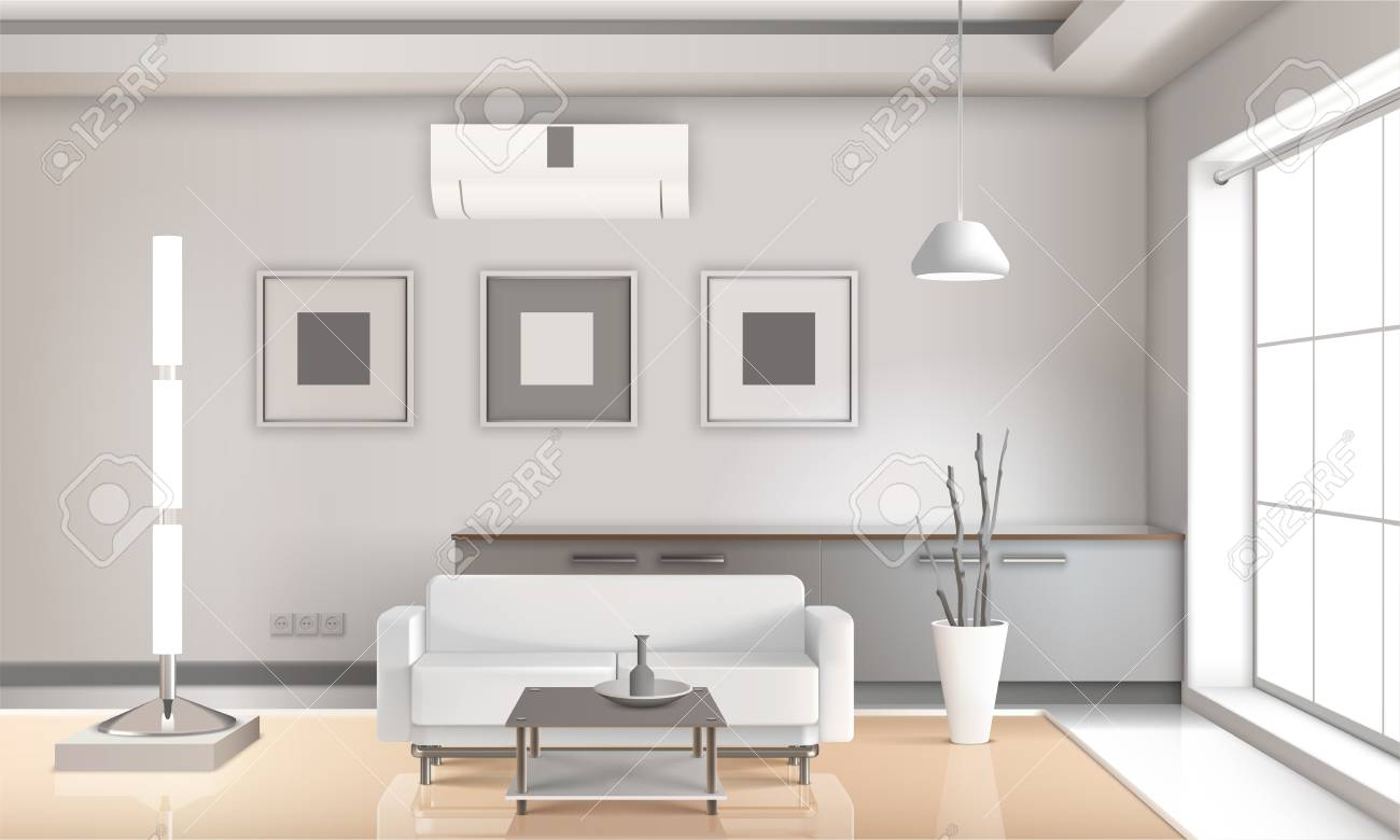 realistic living room interior in light tones with furniture