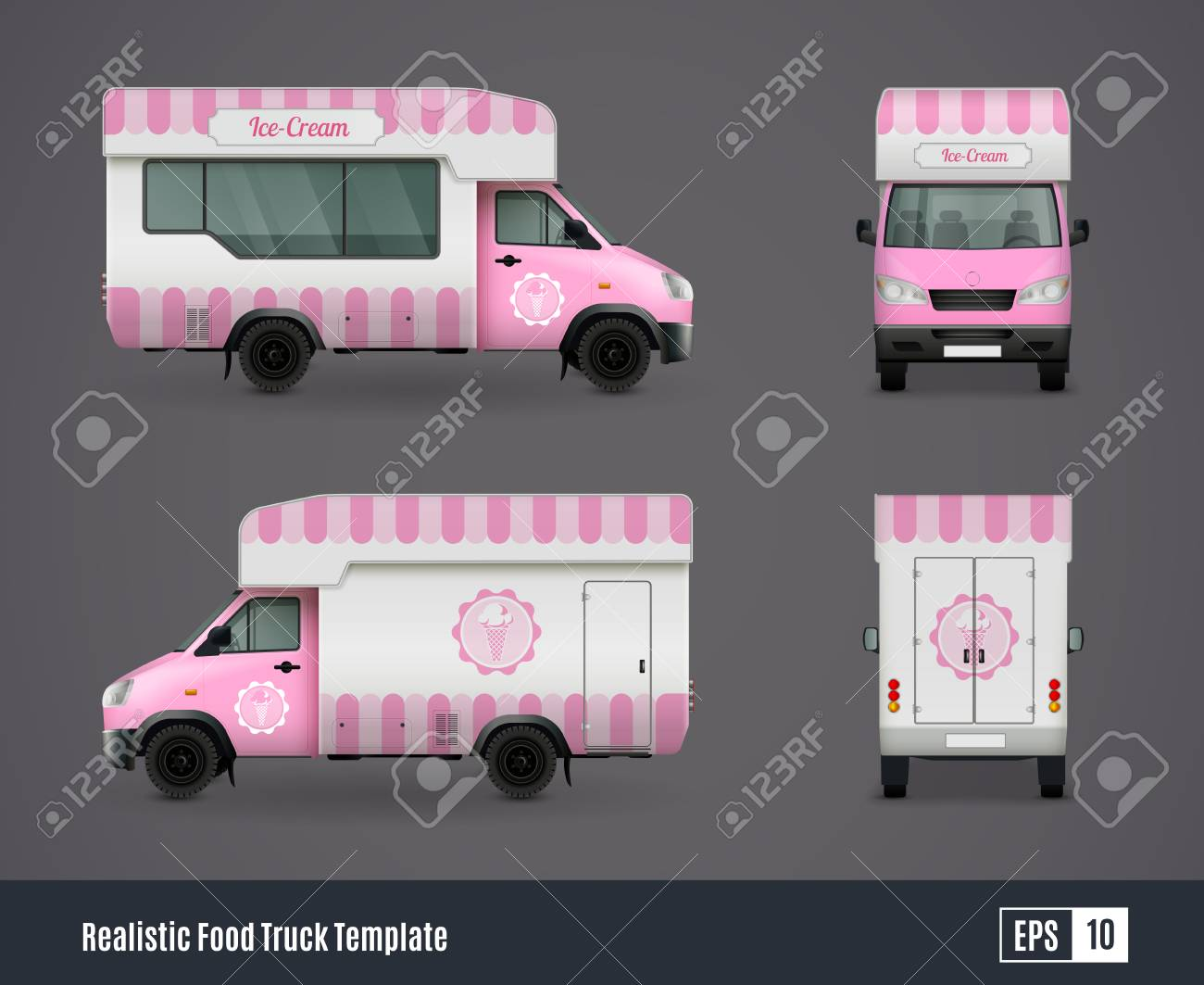 food trucks realistic ad template design composition of four