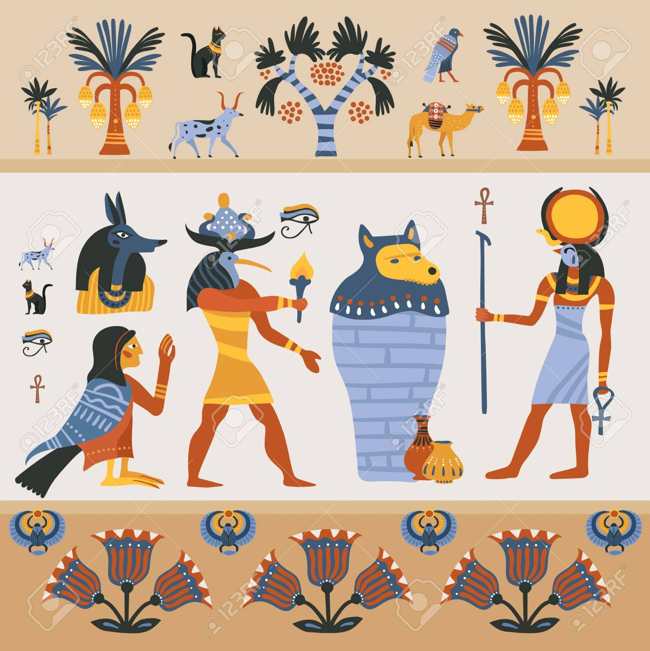 Ancient Egyptian Religion Design On Light Background With Gods