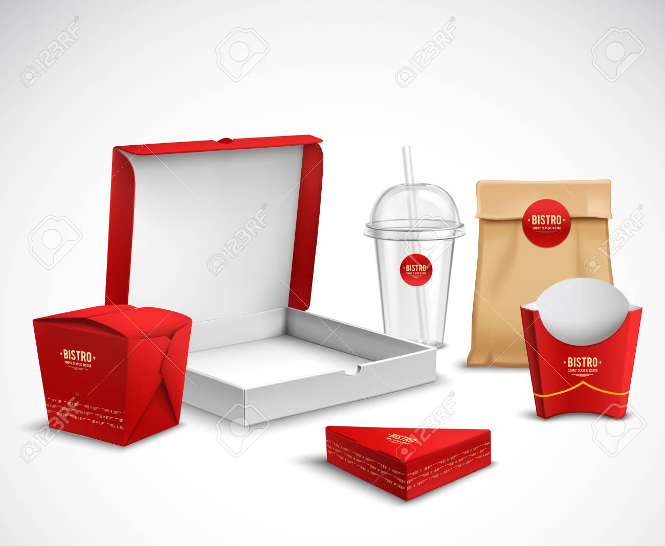 Fast food packaging corporate identity realistic templates samples set red white natural with pizza box vector illustration - 88540334