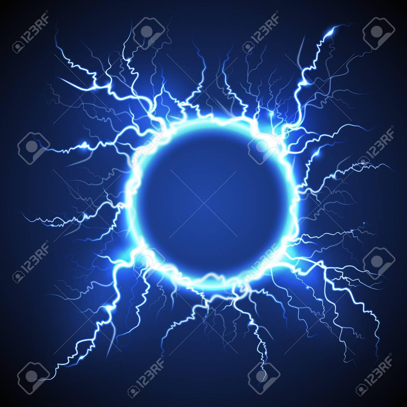 Luminous electric circle lightning atmospheric phenomenon realistic image on dark night sky blue decorative background vector illustration - 88540352