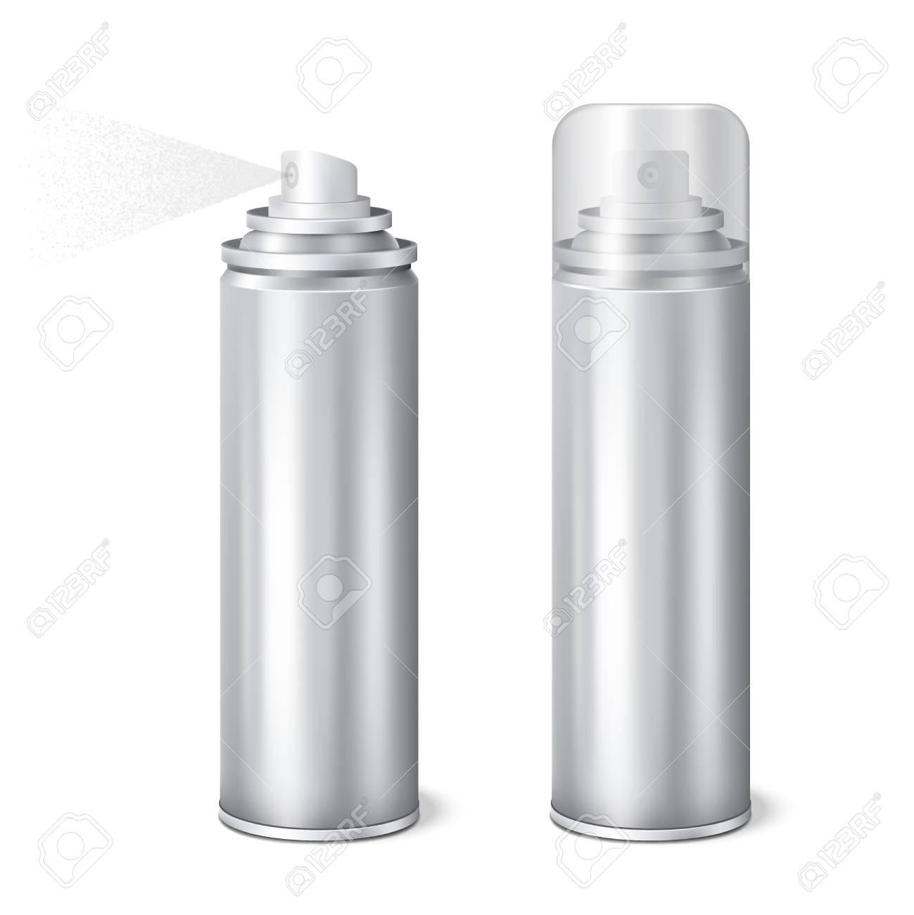 215653cfb3ffb Aluminium aerosol 2 shining realistic mockup cans templates set..