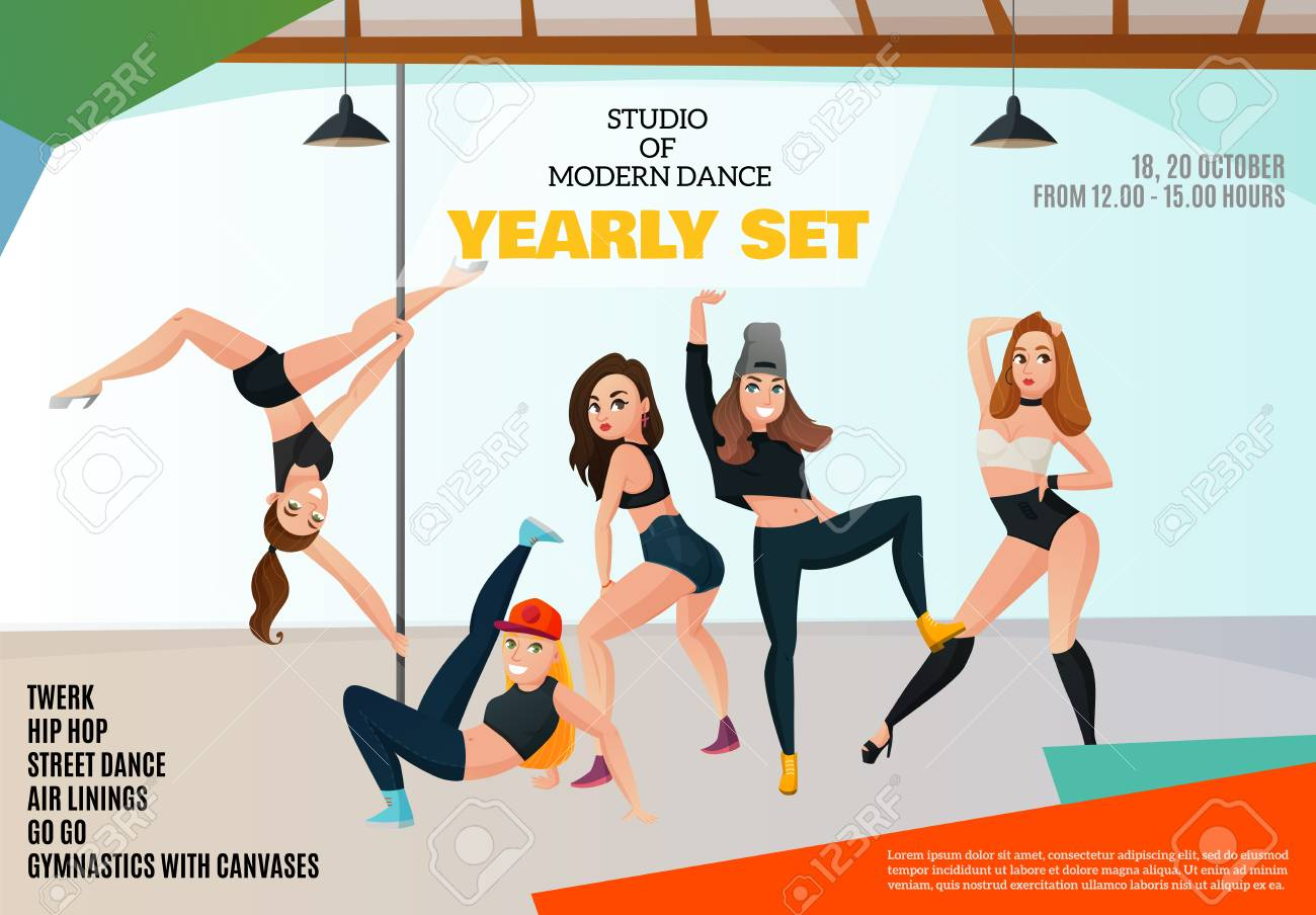 Studio of modern dance types advertising poster with girls in various positions on light background - 88462830