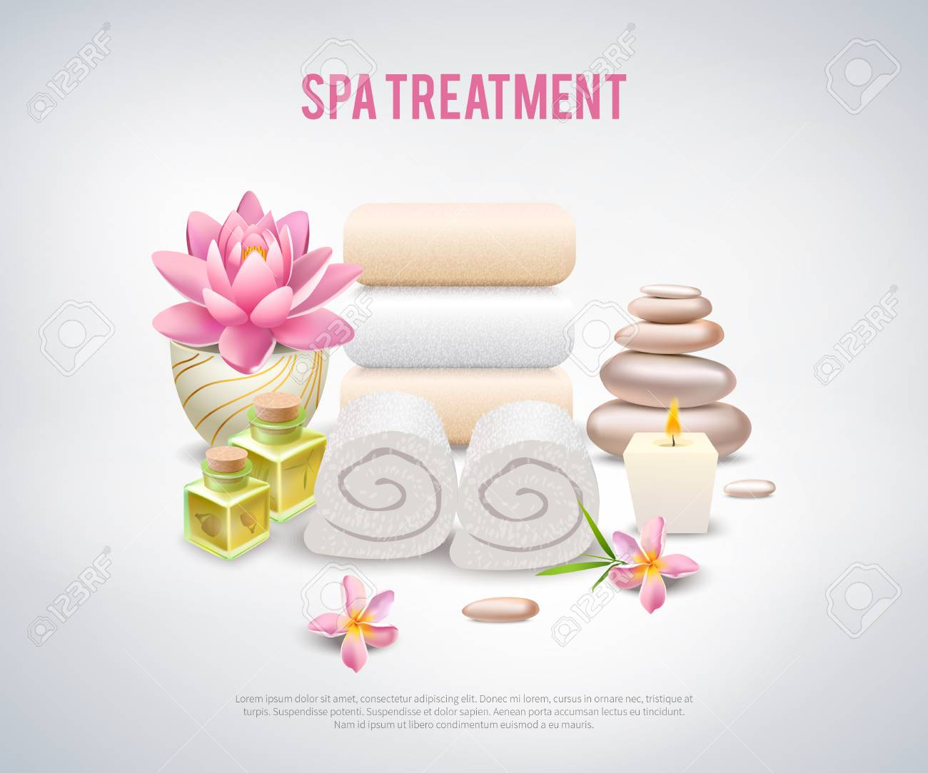 Spa Treatment White Poster With Ingredients For Stone And Aroma