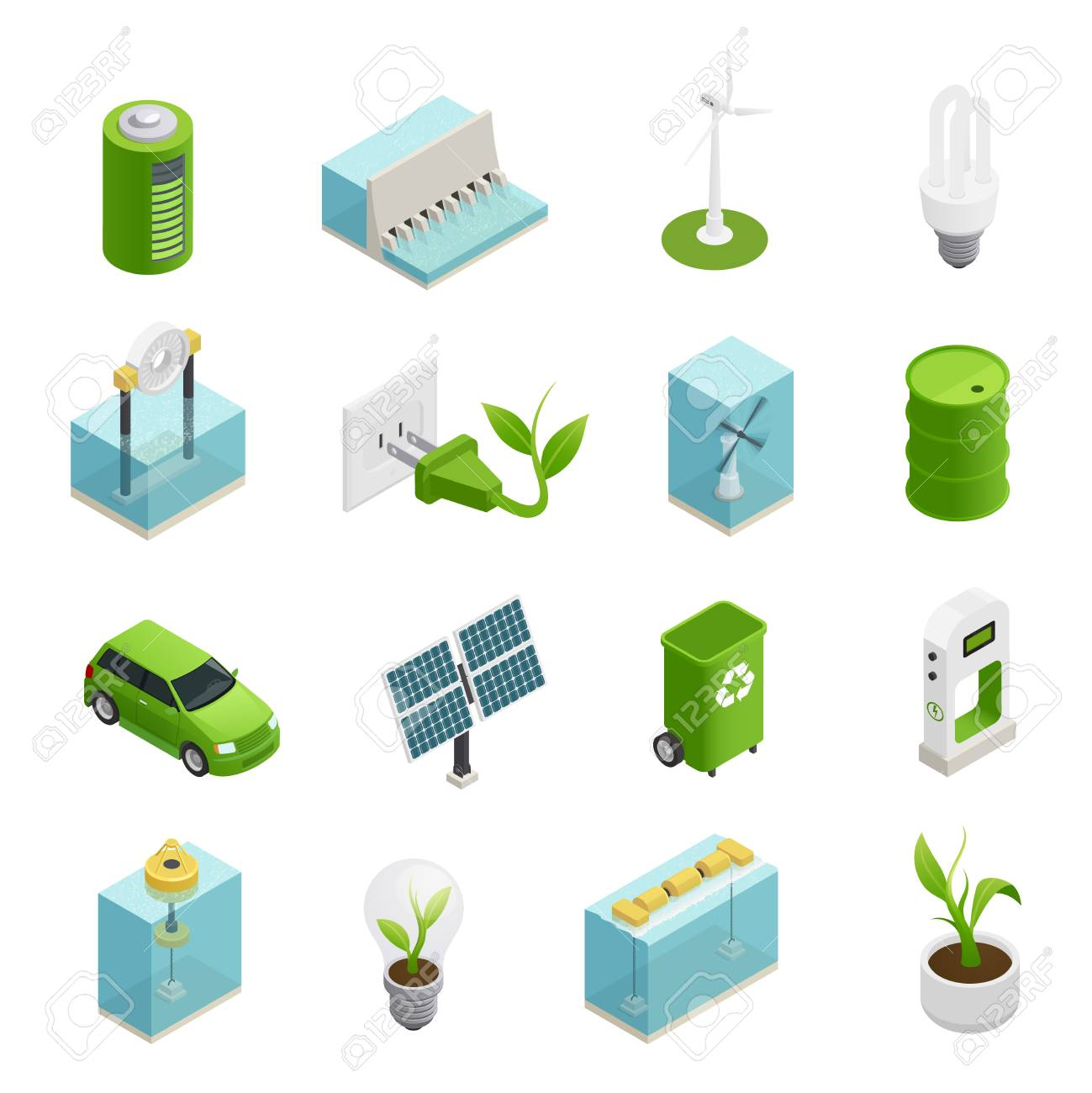 Renewable green energy sources technologies symbols and uses variaties isometric icons collection isolated vector illustration - 88462957