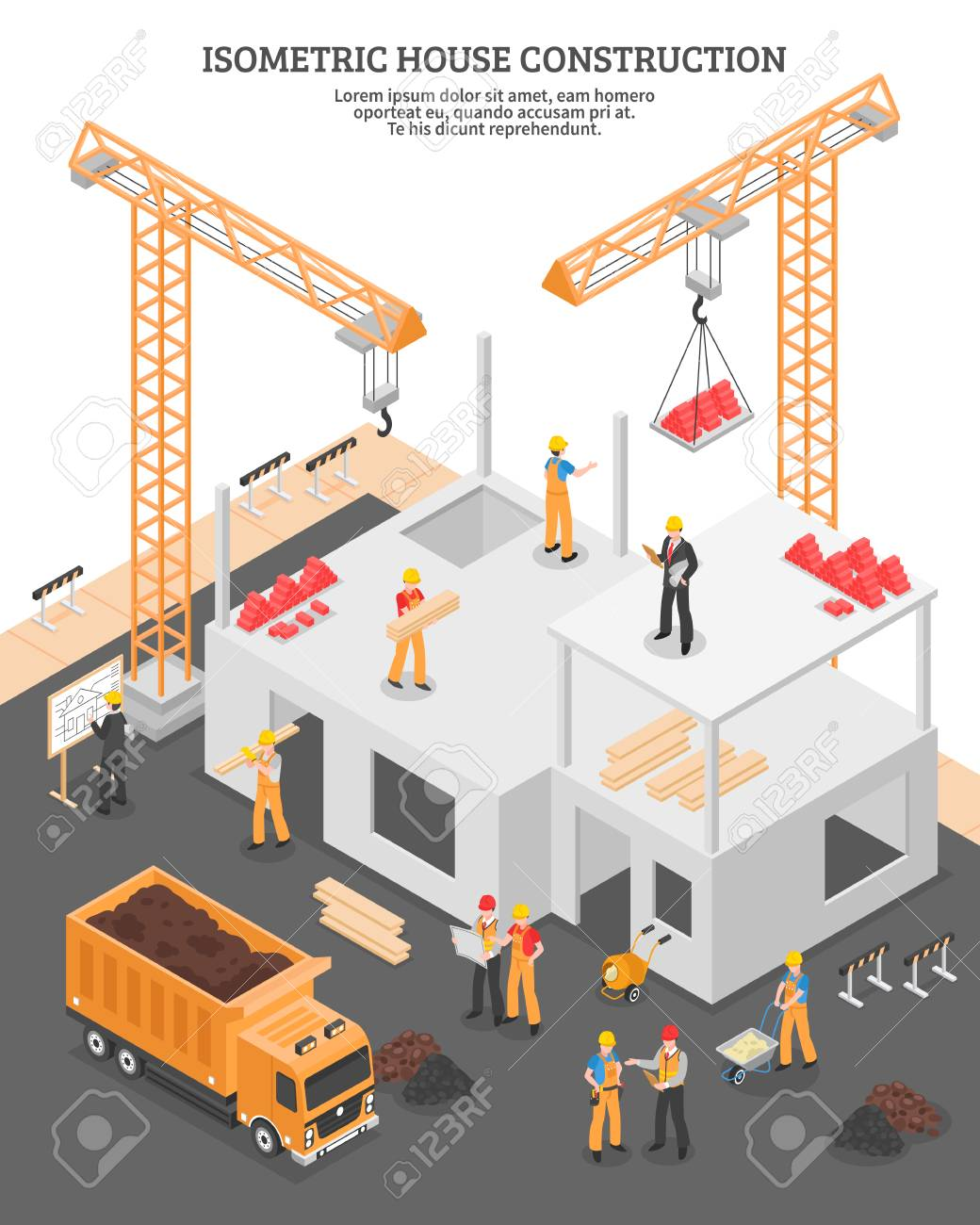 Isometric Building Composition With View Of Construction Site