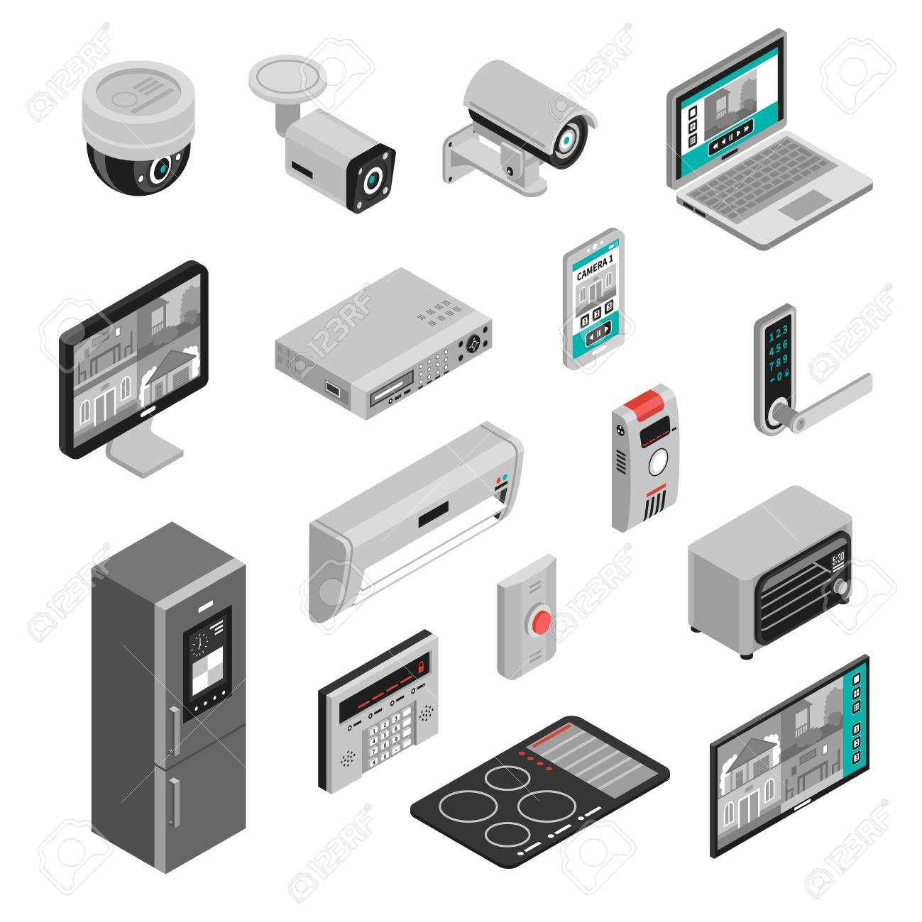 Isometric set of smart home kitchen and house appliances isolated on white background 3d vector illustration - 88554990