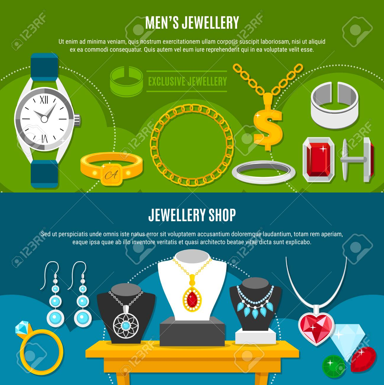 Jewelry shop horizontal banners with mens valuables, female decorations on blue and green backgrounds isolated vector illustration - 88669122